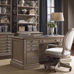 Barton Creek Austin Pedestal Desk, Bradshaw Chair, Johnson File Chest & Deck. Sligh Furniture