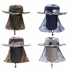 2017 New Fishing Caps Boating Hiking Army Military Snap Brim Ear Neck Cover Sun Flap Cap 4 Colors J2