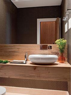 Decor Salteado - Blog de Decoração e Arquitetura : 10 Lavabos com bancadas de madeira - veja dicas e modelos lindos!