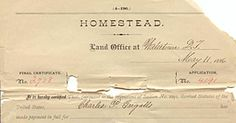 Portion of Charles Ingalls's final certificate for his homestead. (Records of the Bureau of Land Management, RG 49