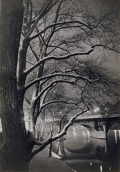 "Gyula Halász was a Hungarian photographer who captured Paris between the wars. His nom de plume, Brassai, means ""from Brasso"", his home town. This photo: Les arbres des quais avec le Pont-Neuf / ca. Street Photography, Landscape Photography, Art Photography, Vintage Paris, French Vintage, Pont Paris, Brassai, French Photographers, Man Ray"