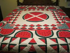 Vintage quilt 82 square with red and dark green