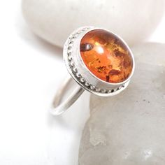SALE Sterling Silver Amber Ring  HoneyComb Ring by BellaBijouToo
