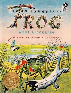 "Vintage Children's Book, Frog Went a Courtin  A FAVORITE ""UMM Hmmm""  Retold by John Langstaff, Pictures by Feodor Rojankovsky, Harcourt Brace & Co., 1983"