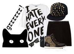 """I hate everyone"" by rose ❤ liked on Polyvore featuring Topshop, Vince Camuto, Forever 21, Aéropostale, Ray-Ban and Roar"