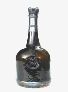 """Important Silver Mounted """"1749"""" English Dated Sealed Wine Bottle! #BB675 For Sale 
