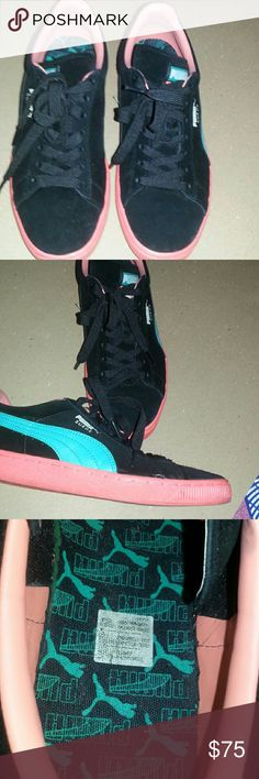 Puma Suede Black Puma Suedes w peach soles, turquoise puma swoop and peach leather along the inside. Great condition worn a few times. US 8 Puma Shoes Athletic Shoes