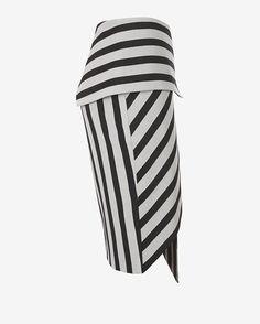 mason by michelle mason Asymmetric Wrap Stripe Skirt | Shop IntermixOnline.com