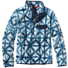 Patagonia Women's Lightweight Synchilla® Snap-T® Pullover | Guatemalan... ($49) ❤ liked on Polyvore featuring tops, jackets, blue pullover, patagonia pullover, pullover tops, brown tops and blue top