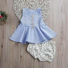 Toddler Girls Clothes Sets Summer Sleeveless Stripped Dress Tops Floral Shorts Hot Pant New Outfits Kids Clothing Set Frocks For Girls, Dresses Kids Girl, Kids Outfits Girls, Toddler Girl Outfits, Toddler Girls, Baby Girls, Baby Girl Fashion, Kids Fashion, Baby Frocks Designs