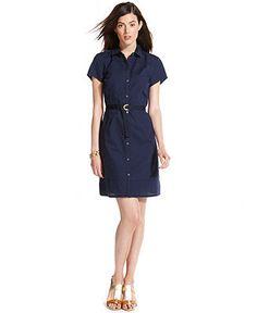 Tommy Hilfiger Short-Sleeve Eyelet Belted Shirtdress - Dresses - Women - Macy's - $48