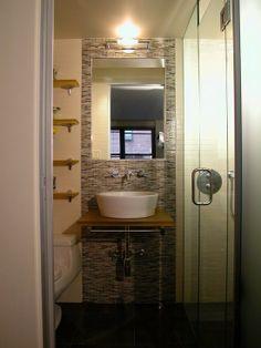 Outstanding Really Small Bathroom Ideas: Outstanding Elegant Really Small Bathroom Ideas Shower Glass Door Mosaic Ceramic Wall Modern White Vessel Sink Glass Door Bathrom ~ ericpoll.com Bathroom Inspiration