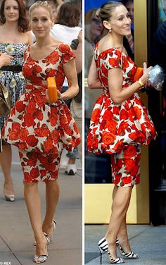 Carrie Bradshaw fabulous floral peplum dress print mixing with striped  pumps.