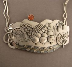 Necklace Detail   Ahlene Welsh. 'A Day in the Country, Pomona Valley'.  Sterling silver, gold and peach moonstone.