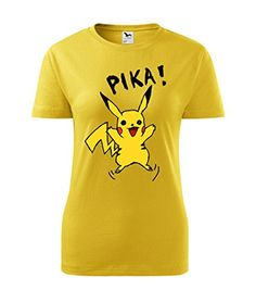 27189fd2 Colour Fashion Pokemon Happy Pikachu print woman T shirt (X-Large, Yellow)