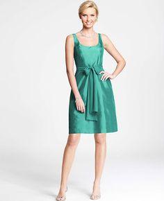 Silk Dupioni Scoop Neck Dress