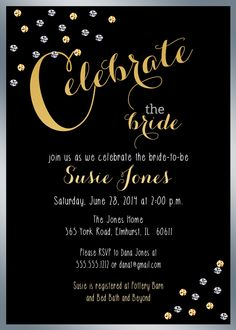 Celebrate The Bride, Bridal Shower Invitation, Chalkboard, Gold & Silver Sparkles