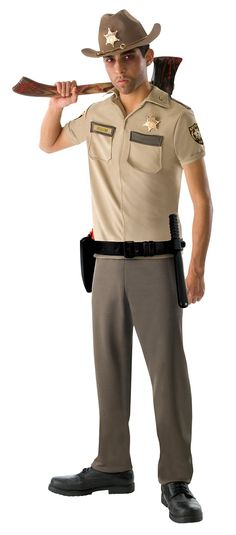 The Walking Dead - Rick Grimes Teen Costume - Includes: Shirt, pants, hat and belt.  Does not include: Axe or shoes. This is an officially licensed The Walking Dead costume. Teen.