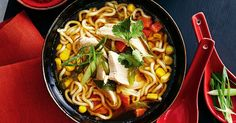 Asian soups bring a smile to your face. Chicken and corn are soothing when mixed with noodles in this low fat wonder. Perfect when you need to whip something up in a hurry.