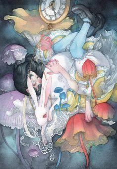 Alice in Wonderland. Art and illustration Art And Illustration, Watercolor Illustration, Chesire Cat, Japanese Watercolor, Japanese Artwork, Ouvrages D'art, Adventures In Wonderland, Watercolor Artwork, Watercolor Artists