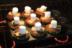 Chocolate Cupcake Recipe with melting marshmallow topping