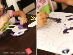 """This website has tons of free printables for little ones to paint and assemble!  This printable craft is the My Little Pony """"Rarity"""". but there are many more!"""