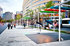 Bus stops in Montreal! Musical Light Swings on the Streets of Montreal swings Montréal instruments Installation Interactive, Installation Art, Art Installations, Urban Furniture, Street Furniture, Outdoor Furniture, Urban Intervention, Landscape Tattoo, Of Montreal