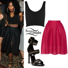 641465a2e48 Normani Kordei posed with her bandmates at the Lucky Strike Lanes last week  wearing a bralet similar to a Topshop V-Neck Bralet ( 18.00)