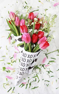 DIY Valentine Free Printable Flower Bouquets