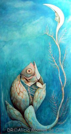 PEZ DE LUNA. By Alicia Montes de Oca Óleo sobre madera 122 x 61 cm.