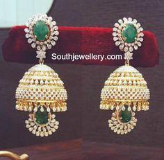 Diamond Emerald Jhumkas- The perfect combo for a Zari saree. Beautiful accompaniment