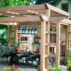 A pergola like this is a great way to give a back porch a little shade and to hold it together like a room. I especially like the idea of wiring it for lights, though I'd probably look into adding some kind of screening to keep out night-time bugs if I was going to use the lights much.