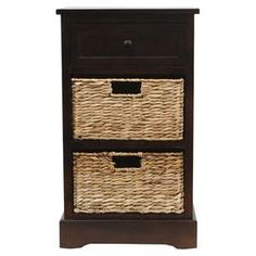 """One-drawer end table in walnut with two removable woven baskets.  Product: End tableConstruction Material: Wood and MDFColor: WalnutFeatures:  Two basketsOne drawer Dimensions: 27.5"""" H x 16"""" W x 13"""" D"""