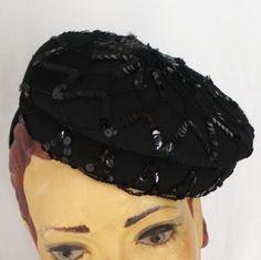 New York Creations 1940's Tilt Hat Black Felt Sequin Cobweb Pill Box Style .  WW2 Fashion  . Lindy Hop Hat . Wartime Glamour . by AllSortsofWonderfull on Etsy