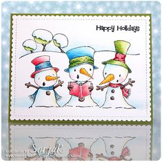 "Weihnachtskarte | Christmas card - Purple Onion Designs ""Snowy Trio"", ""Happy Holidays"", My Favorite Things ""Blueprints 27"", Caran d'Ache ""Museum Aquarelle"""