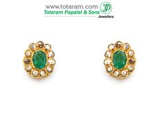 22K Gold Uncut Diamond Earrings with Emerald - DER506 - Indian Jewelry from Totaram Jewelers
