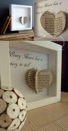 Book Heart Art - 32 Cool Crafts and Gifts for This Valentines Day You Must Try