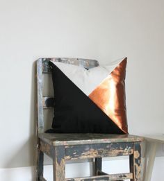 Geometric Black, White & Metallic Copper Pillow Cover, Gorgeous home decor Black and Metallic copper cushion cover. Throw Pillows Cushions