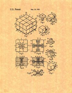 Rubik Cube Toy Patent Art Print