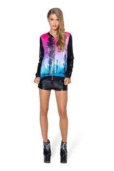 Aurora Skye Pink GF Bomber - LIMITED by Black Milk Clothing $100AUD