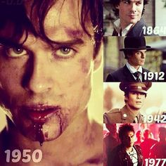Not sure who made this but it's very cool. Damon Salvatore through the ages...