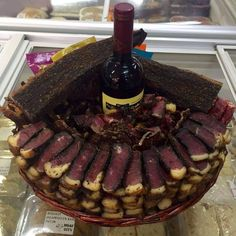 A cake made of lots of biltong (dried beef) from South-Africa
