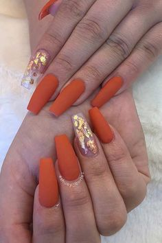 Today, we re-selected Most Classy Coffin Nails! Let's enjoy this amazing na… Today, we re-selected Most Classy Coffin Nails! Let's enjoy this amazing nail art! Finally, don't forget to save your favorite picture. Orange Acrylic Nails, Fall Acrylic Nails, Orange Nails, Fall Gel Nails, Winter Nails, Orange Nail Art, Cute Nails For Fall, Fall Manicure, Simple Acrylic Nails