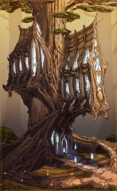 Pin by Jessica Attwood on organic architecture Tree house designs Elven tree Forest elf