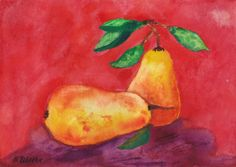 Pears  Original watercolor Still Life Painting by halinapl on Etsy, $49.00