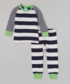 Look at this #zulilyfind! Navy & White Stripe Pajama Set - Infant, Toddler & Boys by Cat & Cow #zulilyfinds