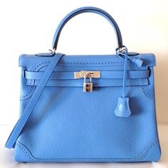 59fe5f9e4e Hermes Rare Ghillies Kelly 35 Blue Paradis Clemence And Swift Leather Trim  35 Cm Retourne With Strap Silver Hardware Shw S