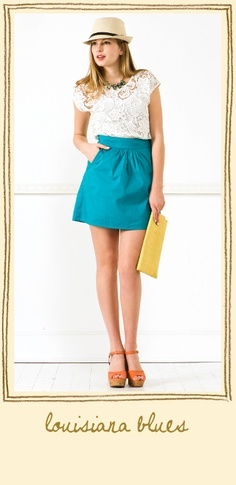 too many things to love about this- lace top, teal skirt, orange heels, straw fedora, yellow clutch!