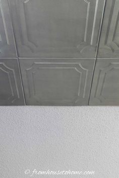 Faux tin ceiling tiles on a popcorn ceiling Styrofoam Ceiling Tiles, Faux Tin Ceiling Tiles, Tin Tiles, Ceiling Decor, Ceiling Design, Ceiling Ideas, Office Ceiling, Wall Design, Tin Ceiling Kitchen