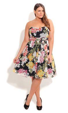 City Chic SUMMER GARDEN DRESS -Women's Plus Size Fashion-Dress - Wedding - Engagement - Races – Formal